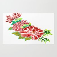 asian Area & Throw Rugs featuring Asian Flowers by Natalia Gemma