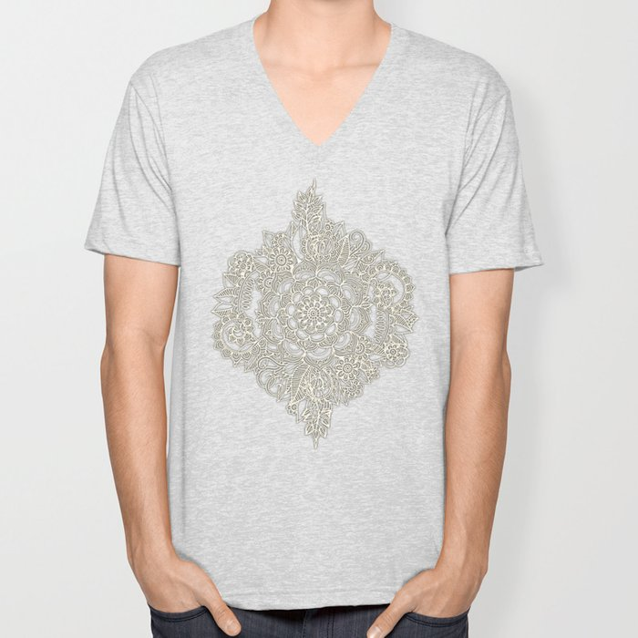 Cream Floral Moroccan Pattern on Deep Indigo Ink Unisex V-Neck