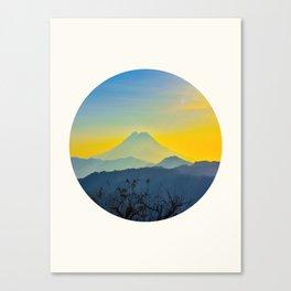 Mid Century Modern Round Circle Photo Yellow Blue Mount Fuji Sunset Watercolor Effect Landscape Canvas Print