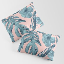 Island Life Teal on Light Pink Pillow Sham