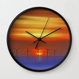 Wind Farms at Sunset (Digital Art) Wall Clock