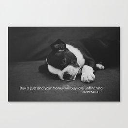 Puppy Love Rudyard Kipling Quote Canvas Print