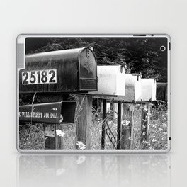 Black and white row of old road country us mailboxes Laptop & iPad Skin