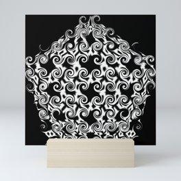 Curlicue Pentagon White On Black Mini Art Print