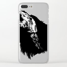 Wolf Skull Shadow Outline Outdoor Hunting Rustic Design Clear iPhone Case