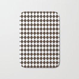 Cocoa Brown Modern Diamond Pattern Bath Mat