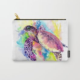 Sea Turtle in Coral Reef, tropical colors sea world purple yellow blue turtle art, turtle illustrati Carry-All Pouch