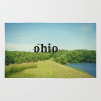ohio state Area & Throw Rugs featuring Hello Ohio by KimberosePhotography