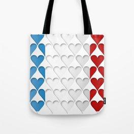 France Hearts Flag Tote Bag