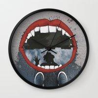 mouth Wall Clocks featuring Mouth  by Eliska Podzimkova