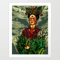 frida kahlo Art Prints featuring Frida Kahlo by Nicolae Negura