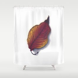 Cherry Leaf Watercolor Shower Curtain