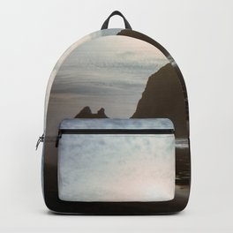 A Lonely Walk on Cannon Beach - Holga Film Photograph of Haystack Rock Backpack