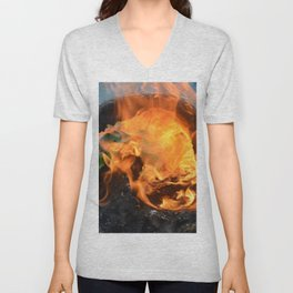 fire in a hollow log Unisex V-Neck