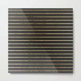 Elegant Chic Yellow Gold Stripes and Black Metal Print