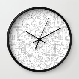 Pipe Dreams - Black & White Wall Clock
