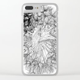 Black Dandelion On White Background Clear iPhone Case