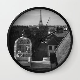 The Gilded Bird Cage, Paris, Eiffel Tower panorama black and white photography / photograph Wall Clock