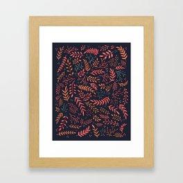 Midnight Meadow Botanical Pattern Framed Art Print