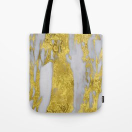 Whipped Cream Marble with 24-Karat Gold Veins Tote Bag