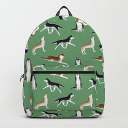 Husky Pattern (Green Background) Backpack