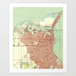 Vintage Map of Corpus Christi Texas (1951) Art Print