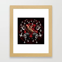 satanic cat pentagram death black metal band exorcist Framed Art Print