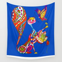 Cat and two butterflies Wall Tapestry