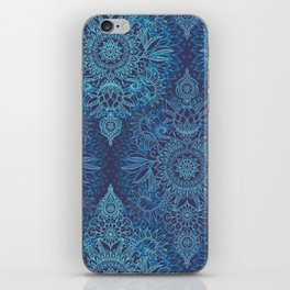 Aqua, Cobalt Blue & Purple Protea Doodle Pattern iPhone Skin