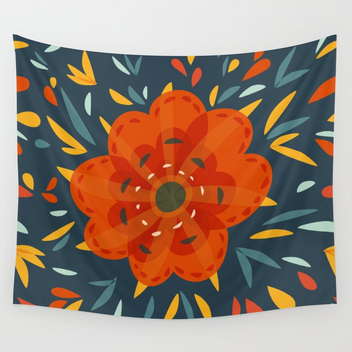Decorative Whimsical Orange Flower Wall Tapestry