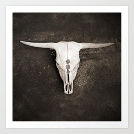 Sepia Brown Cow Skull Art Print