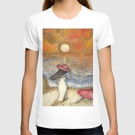 At the Beach Acrylic Abstract Art by Saribelle T-shirt
