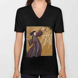 Wizard Sorcerer Magic Magic Wand Fantasy Pentagram Unisex V-Neck