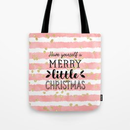 Christmas pink watercolor stripes gold confetti Tote Bag