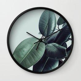 Ficus Elastica #20 #LightGreen #foliage #decor #art #society6 Wall Clock