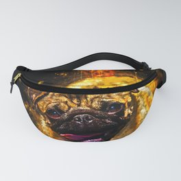 hungry pug dog splatter watercolor Fanny Pack