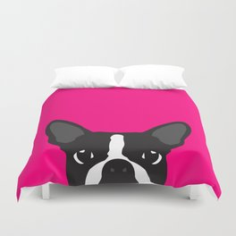 Boston Terrier Hot Pink Duvet Cover