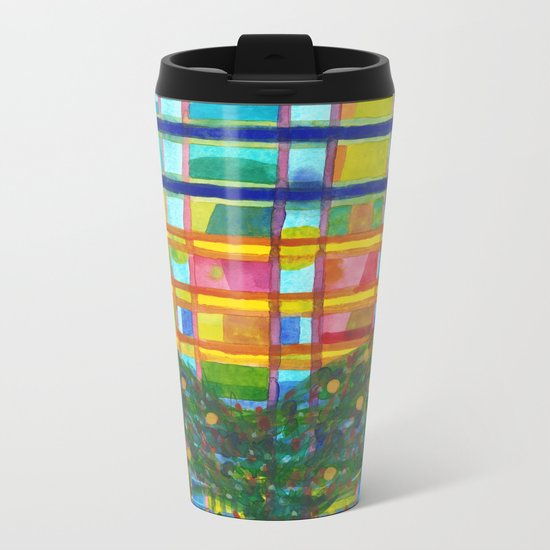 Tree In Front Of A Building Metal Travel Mug
