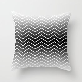 Fat Thin Chevrons Dove White Throw Pillow