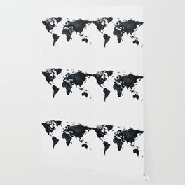 World Map in Black and White Ink on Paper Wallpaper