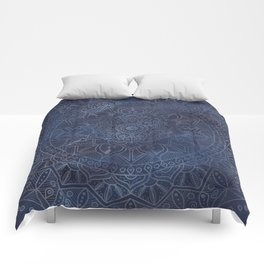 Vintage Circle of Life Mandala full color on blue swirl Distressed Comforters