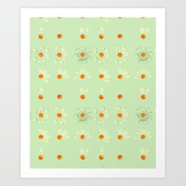 Mint Green Whimsical Real Daisy Flowers Pattern Art Print
