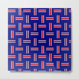 Team Colors 2 pattern  red, white blue Metal Print