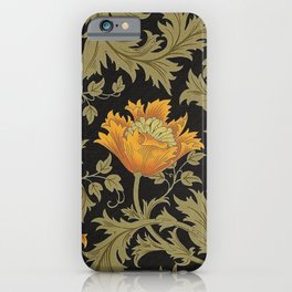 William Morris Yellow Flowers and Laurel Floral Textile Pattern iPhone Case