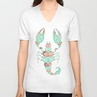 rose gold V-neck T-shirts featuring Scorpion – Mint & Rose Gold by Cat Coquillette