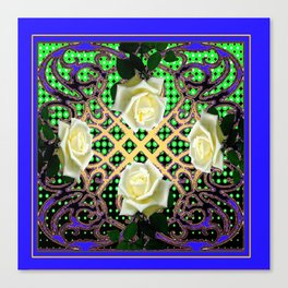 BLUE-GREEN WHITE ROSE GARDEN  TAPESTRY ART Canvas Print