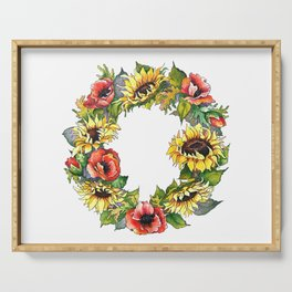 Sunflower Poppy wreath Serving Tray