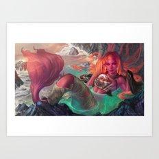 Mermaid and torn sails Art Print