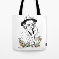 harry styles Tote Bags featuring Harry Styles by Mariam Tronchoni