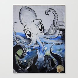 The Squid who Swallowed the Sea Canvas Print